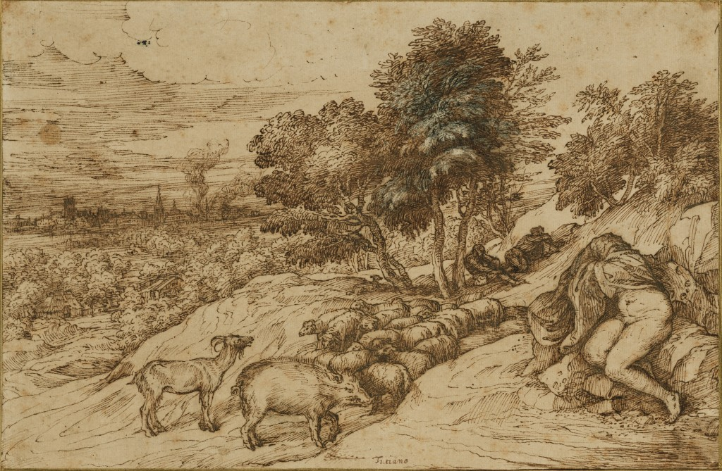 3-35 Titian, Landscape with Sleeping Nude, mid 1560s. Pen and brown ink, traces of black chalk, highlights in white, 19.5 x 30.2 cm. Getty Museum, Malibu.