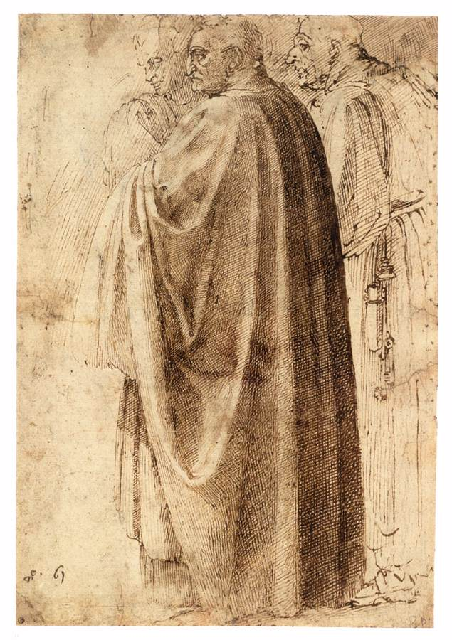 3-11 Michelangelo, Three Figures, probably after Masaccio, ca. 1496. Pen and two shades of ink, 29.0 x 19.7 cm. Albertina, Vienna.