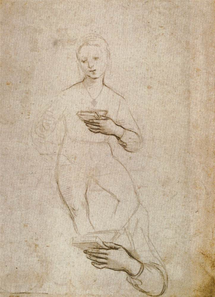 3-16 Raphael, Study for the Norton Simon Madonna and Child, 1502-1503. Silverpoint on white prepared paper, 26.3 x 18.9 cm. Musée des Beaux-Arts, Lille.
