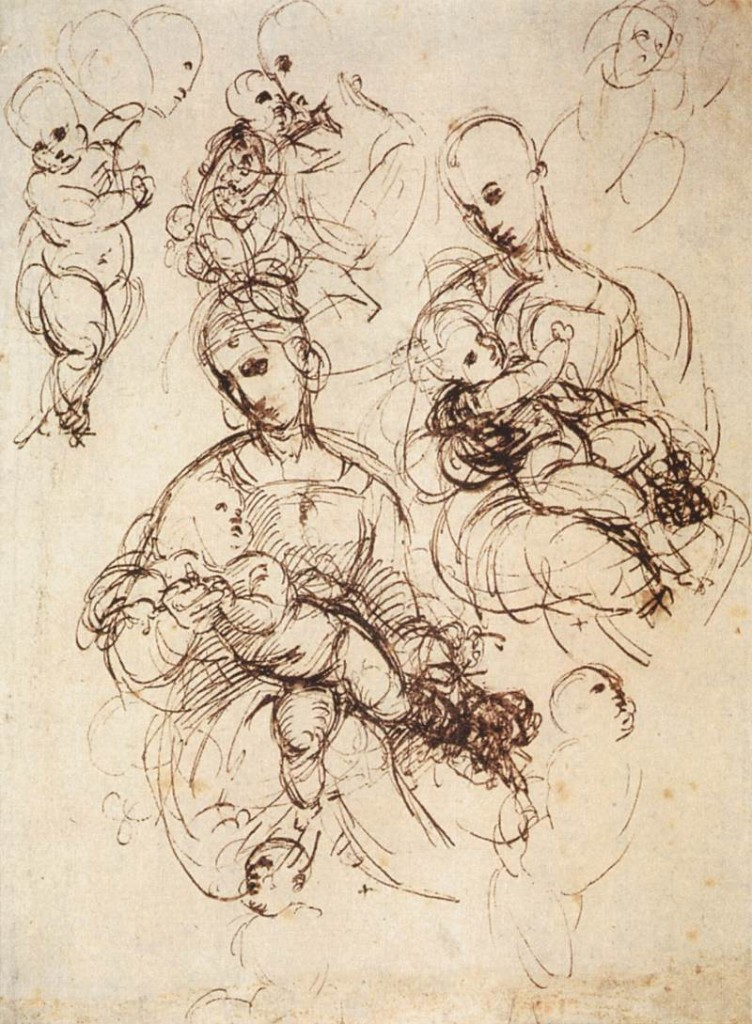 3-18 Raphael, Sketches of the Madonna and Child, Pen and ink, and red chalk, 26 x 19.2 cm. Albertina, Vienna.