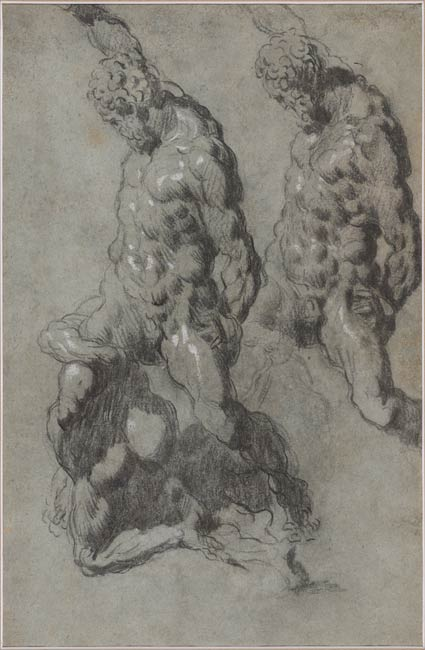 3-36A Jacopo Tintoretto, [verso] Two Studies of Samson Slaying the Philistines. Black chalk, heightened with wetted white chalk, on faded blue paper, 44.3 x 28.5 cm. Morgan Library, New York.