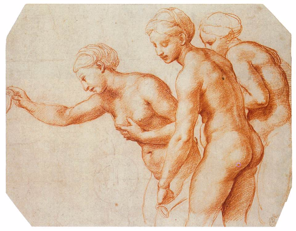 3-21 Raphael, The Three Graces, 1518-1519. Red chalk over stylus underdrawing, 20.3 x 26.0 cm. Royal Library, Windsor.