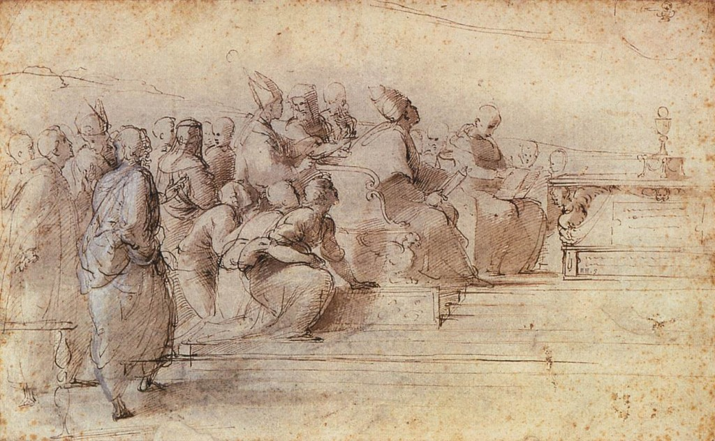 3-19 Raphael, Study for the Disputà, 1509. Pen and ink with wash over stylus underdrawing, 24.7 x 40.1 cm. British Museum,London.