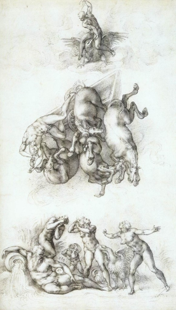 3-15 Michelangelo, The Fall of Phaethon, 1534. Black chalk, 41.3 x 23.4 cm. Royal Library, Windsor.