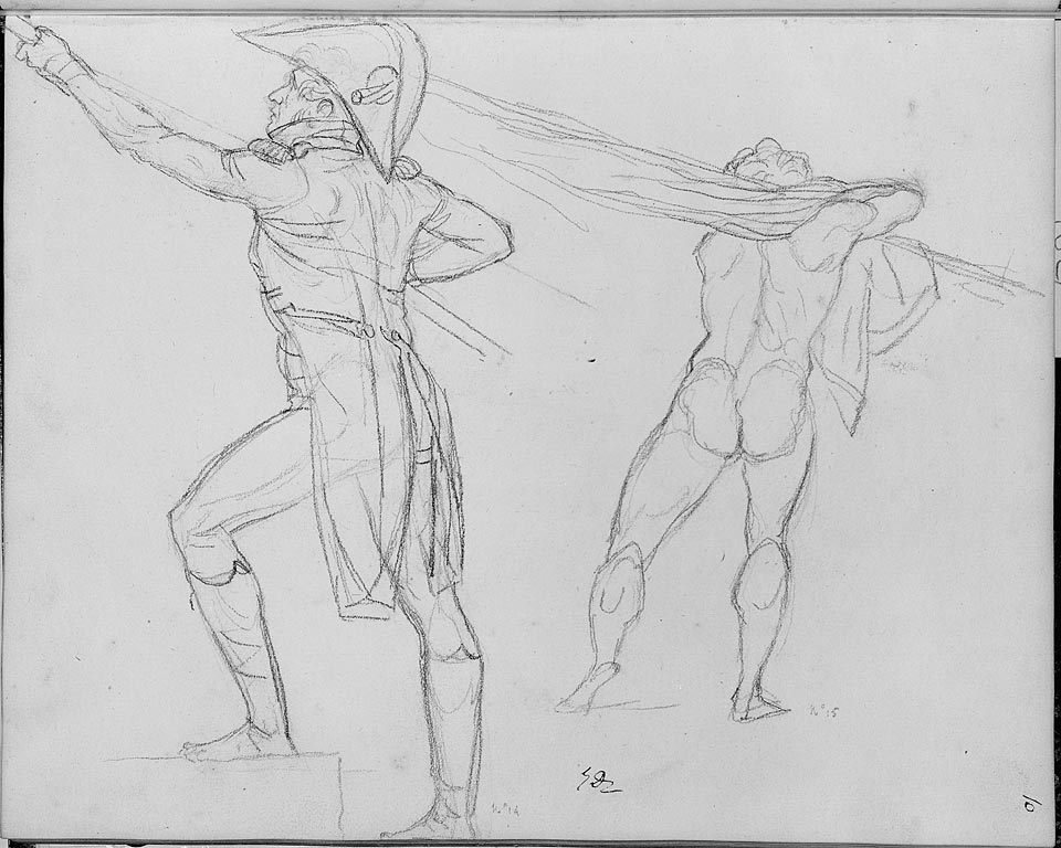 5-28 Jacques-Louis David, Two Studies for 'The Distrubution of the Eagles,' Sketchbook, page 10, recto, nos. 14 and 15, ca. 1808-1810. Black chalk, ca. 19 x 24 x cm. Art Institute, Chicago.