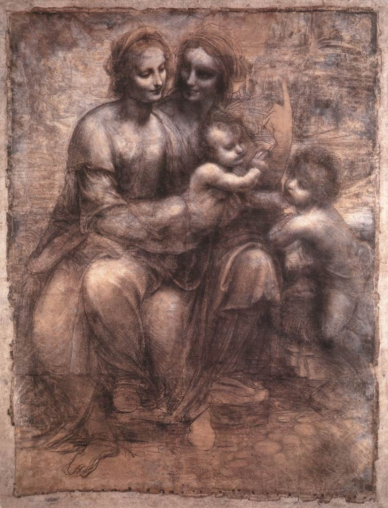 3-8 Leonardo da Vinci, Virgin and Child with St. Anne and John the Baptist (The Burlington House Cartoon), 1507-1508. Charcoal, soft black chalk, heightened with white on light brown tinted paper, 141.5 x 106 cm. National Gallery, London.