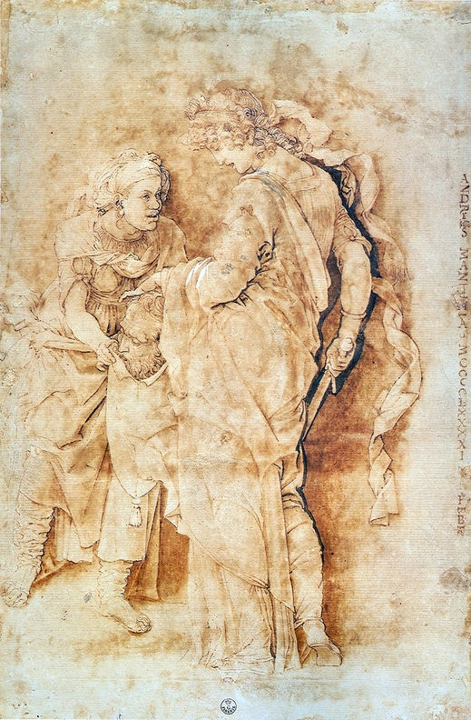 Andrea Mantegna, Judith, 1491. Brush and wash slightly heightened with white, 38.8 x 25.8 cm. Uffizi, Florence.
