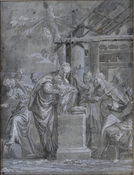 3-39 Veronese, Virgin and Child Surrounded by Six Angels, ca. 1560. Pen and wash on blue-gray paper heightened with white, 37.7 x 28.9 cm. Musée du Louvre, Paris.