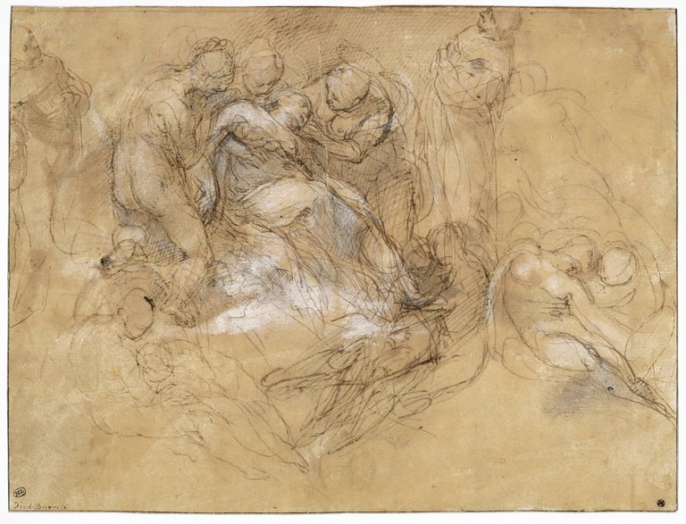 Federico Barocco, Study for the Deposition, 15. Pen and ink, wash, and white heightening, 20.4 x 27 cm. Louvre Museum. Paris