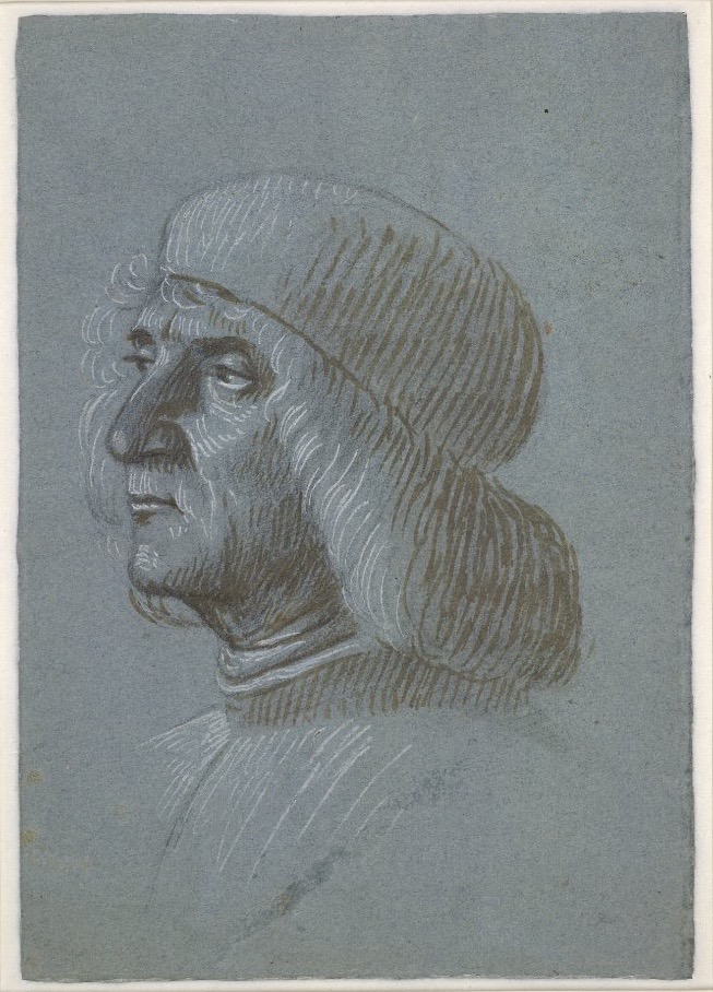 3-30 Vittore Carpaccio, Portrait of a Middle-aged Man, 1495. Brush and brown pigment over black chalk, with white heightening on blue paper, 26.7 x 18.7 cm. British Museum, London.