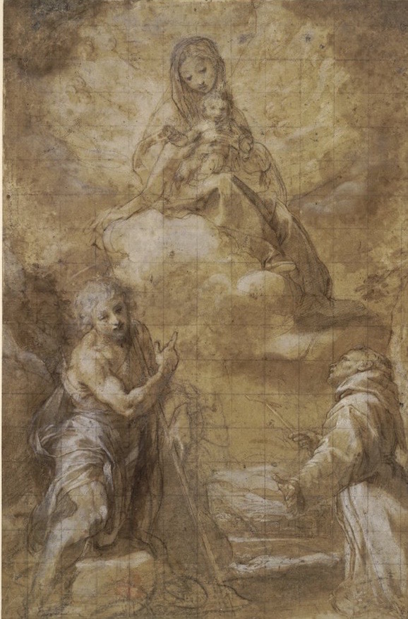 3-49 Federico Barocci, The Virgin and Child Appearing to Saints Francis and John the Baptist, 1560s. Pen and brown ink, brown washes, heightened with white, over black chalk, squared in black chalk and incised for transfer, on beige paper, 38.0 x 24.4 cm. British Museum, London.