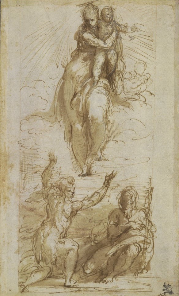 3-43 Parmigianino, The Virgin and Child with Saints John the Baptist and Jerome, 1526-27. Pen and ink wash, over red chalk, touches of white heightening on the Virgin and Child, 26 x 15.7 cm. British Museum, London.