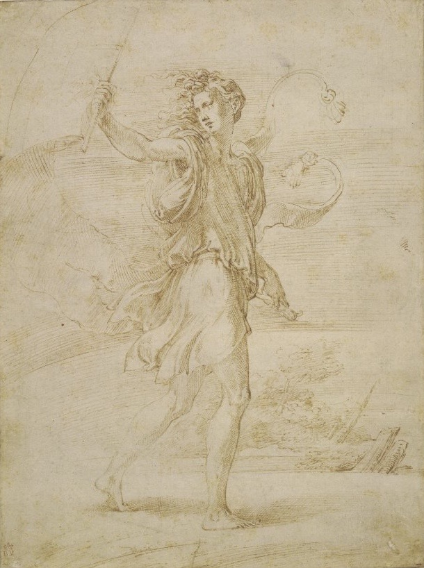 3-46 Parmigianino, The Standard Bearer, 1530s. Pen and ink over traces of black chalk. 26.5 x 19.8 cm. British Museum, London.