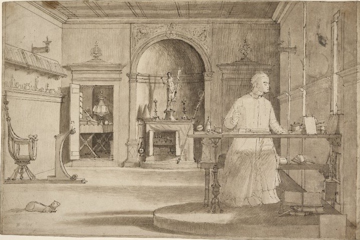 3-32 Vittore Carpaccio, St. Augustine in his Study, 1502. Pen and ink with light brown wash, 27.7 x 42.7 cm. British Museum, London.