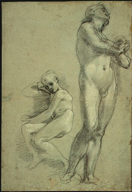 3-48 Federico Barocci, Study for the Virgin Standing beneath the Cross, ca. 1566. Black and white chalks on blue-green paper, 40.0 x 27.4 cm. National Gallery of Art, Washington, D.C.