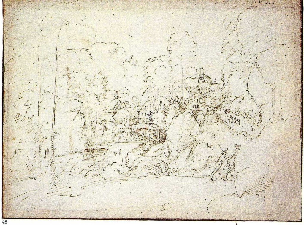 3-24 Fra Bartolommeo, A Wooded Ravine. Pen and brown ink, 21.5 x 28.8 cm. British Museum, London.