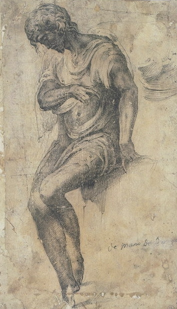 5-41 Alonso Berruguete, A Seated Man, ca. 1540? Pen and black ink on beige paper, 26.5 x 15 cm. Musée du Louvre, Paris.