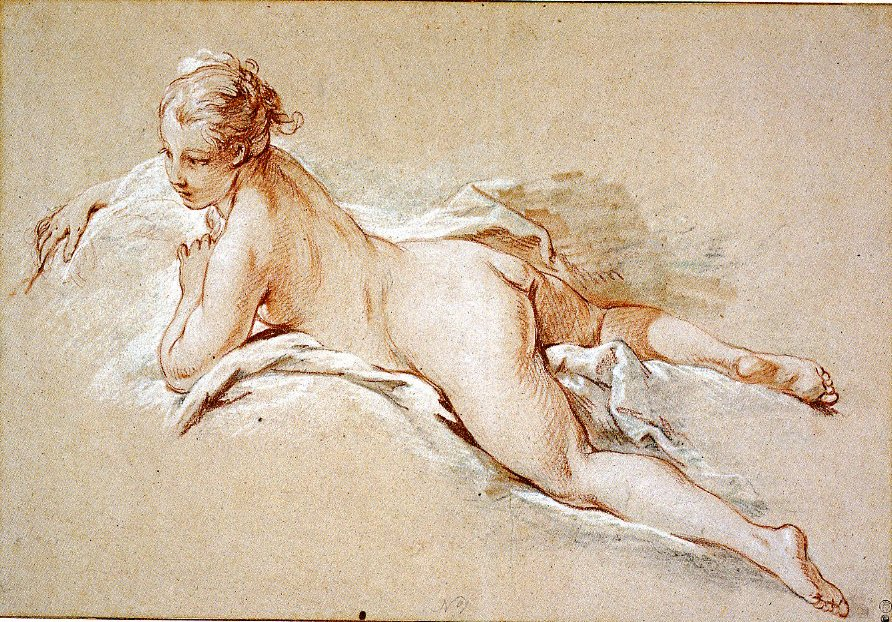 5-14 François Boucher, Recumbent Female Nude, ca. 1742-1743. Red, white, and black chalk, 31.6 x 46.2 cm. Boston, collection of Jeffrey E. Horvitz.