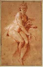5-13 François Boucher, Study for Aurora, ca. 1733. Red chalk heightened with white chalk on brown laid paper, 36.8 x 24.1 cm. National Gallery of Art, Washington.