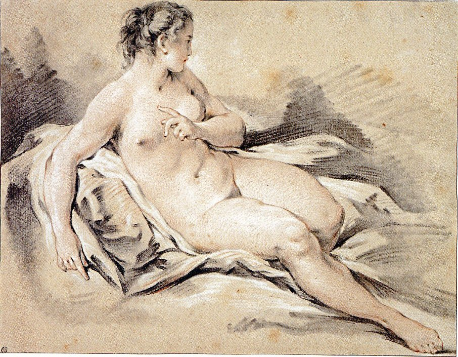 5-15 François Boucher, Study of a Nude Young Woman on Drapery, 1763. Black, red, and white chalk on tan (formerly blue) laid paper, 29 x 37.8 cm. Museum of Fine Arts, Boston.