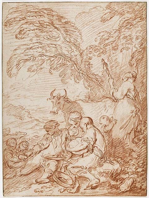 5-12 François Boucher, A Rustic Repast in the Open Air, ca. 1728/31. Red chalk on cream laid paper, 32.3 x 23.7 cm. National Gallery of Canada, Ottawa.