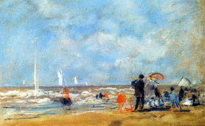 6-21 Eugène Boudin, On the Beach, 1863. Pastel [and watercolor?], 18 x 30 cm. Paris, Musée Marmottan Monet.
