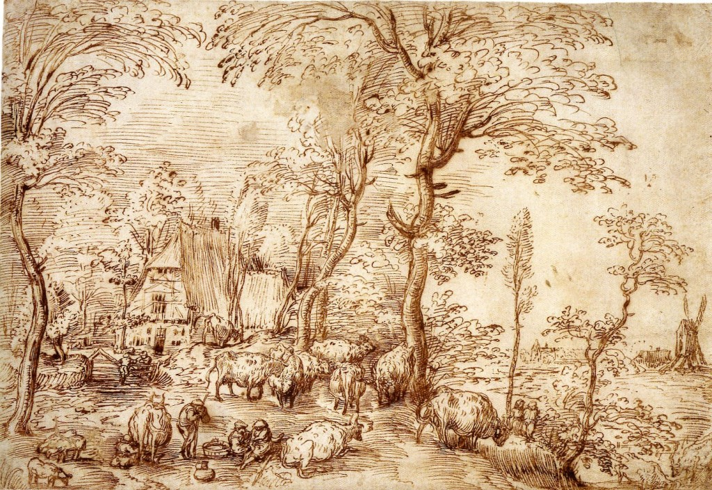 2-27 Pieter Bruegel the Elder, Cow Pasture before a Farmhouse, ca 1554. Pen and red-brown ink, 23.5 x 34.3 cm. National Gallery of Art, Washington.