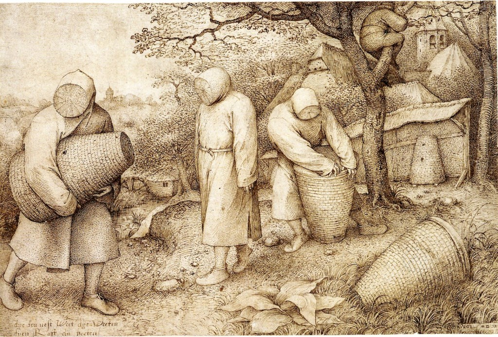 2-28 Pieter Bruegel, The Beekeepers, ca. 1567-68. Pen and brown ink, 20.3 x 30.9 cm. Kupferstichkabinett, Staatliche Museen zu Berlin.