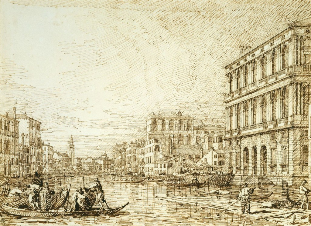 5-38 Canaletto, The Grand Canal Looking toward the Carità, ca. 1735. Pencil, pen and ink, 27 x 37.4 cm. Royal Library, Windsor.