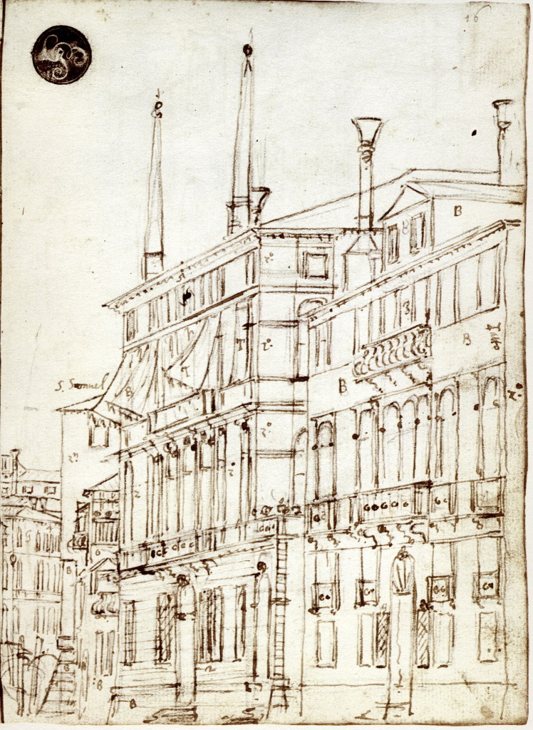 5-37 Canaletto, The Grand Canal (Quaderno Cagnola, 16 recto), ca. 1730. Pencil, pen and ink, 23 x 17 cm. Accademia, Venice.
