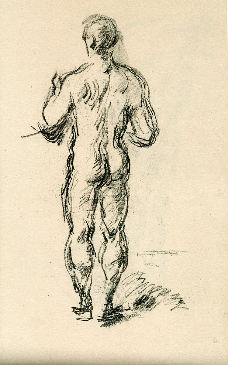 6 57 paul cézanne standing male bather early 1890s pencil 12 7