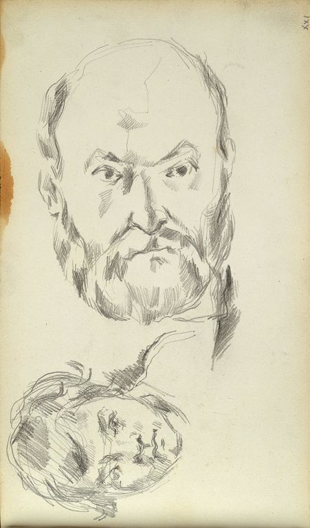 Art Vintage Pencil Drawing Portrait Paul Cézanne...