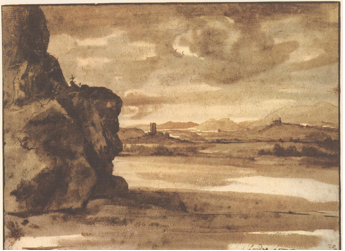 4-15 Claude Lorrain, Tiber Valley, 1635-1640. Pen and brown and black wash, 19.8 x 26.6 cm. Albertina, Vienna. [not in scale]