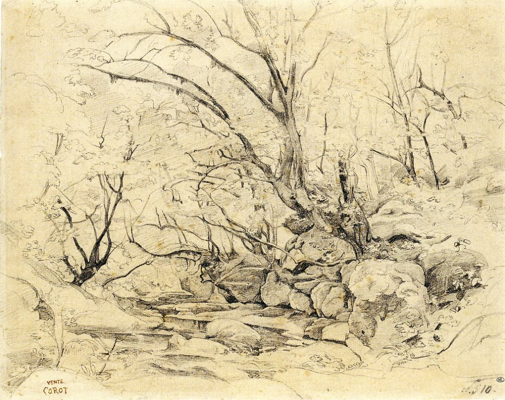6-11 Camille Corot, Forest Interior with Rocks at Civita Castellana, 1826. Graphite, 31.2 x 39 cm. Paris: Musée du Louvre.