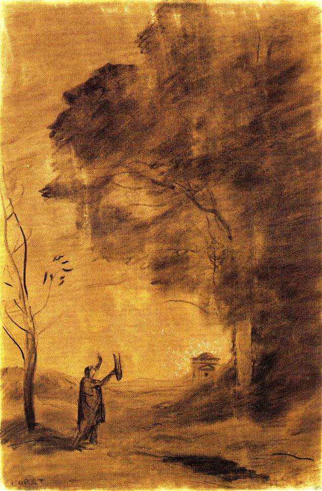 6-13 Camille Corot, Orpheus, or Hymn to the Sun, 1865. Charcoal with white heightening on buff paper, 47 x 30.6 cm. Paris: Musée du Louvre.