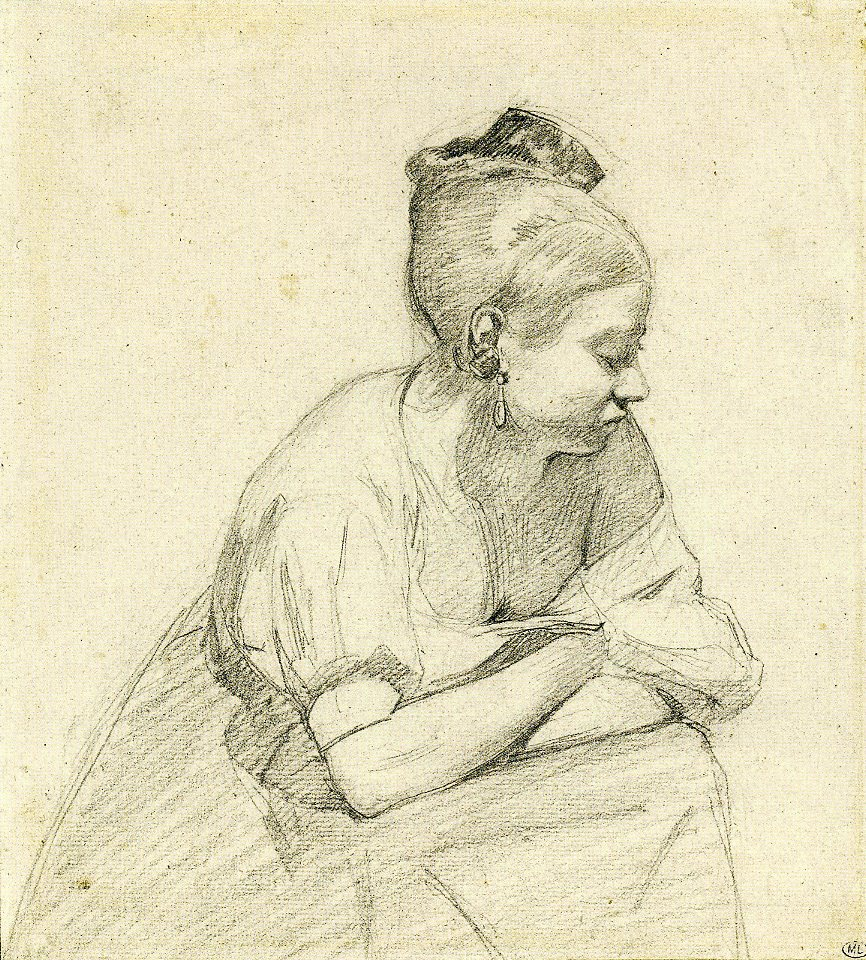 6-12 Camille Corot, Young Woman Seated, with her Arms Crossed, 1830s? Graphite on gray paper, 21.2 x 19.1 cm. Paris: Musée du Louvre.