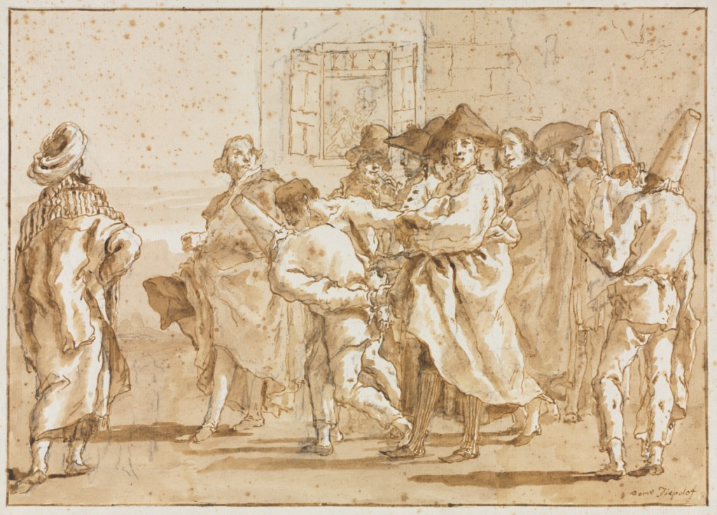 5-36 Domenico Tiepolo, Punchinello Arrested, 179--. Pen and ink, wash, over black chalk, 35.2 x 46.6 cm. (sheet). The Cleveland Museum of Art.