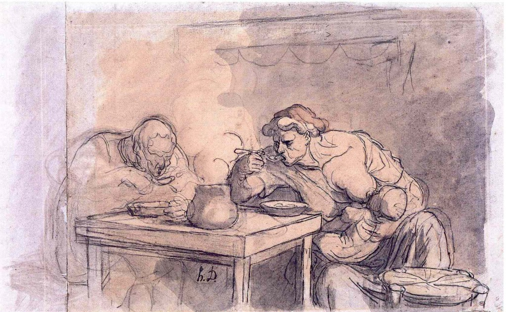 6-15 Honoré Daumier, La Soupe, ca. 1853-57. Charcoal, black chalk, watercolor, pen and ink, wash, conté crayon, 30.3 x 49.4 cm. Paris, Musée du Louvre.