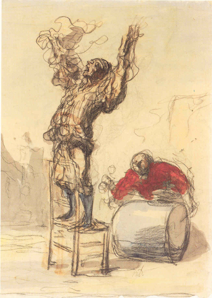 6-16 Honoré Daumier, Street Show, mid 1860s. Black chalk and watercolor, 36.5 x 25.5 cm. New York, The Metropolitan Museum of Art.