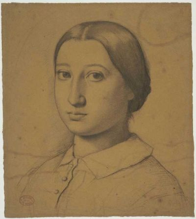 6-26 Edgar Degas, Thérèse De Gas, ca. 1855-56. Black crayon [Conté crayon] and graphite on brown/buff paper, 44.1 x 32 cm. Boston, Museum of Fine Arts.