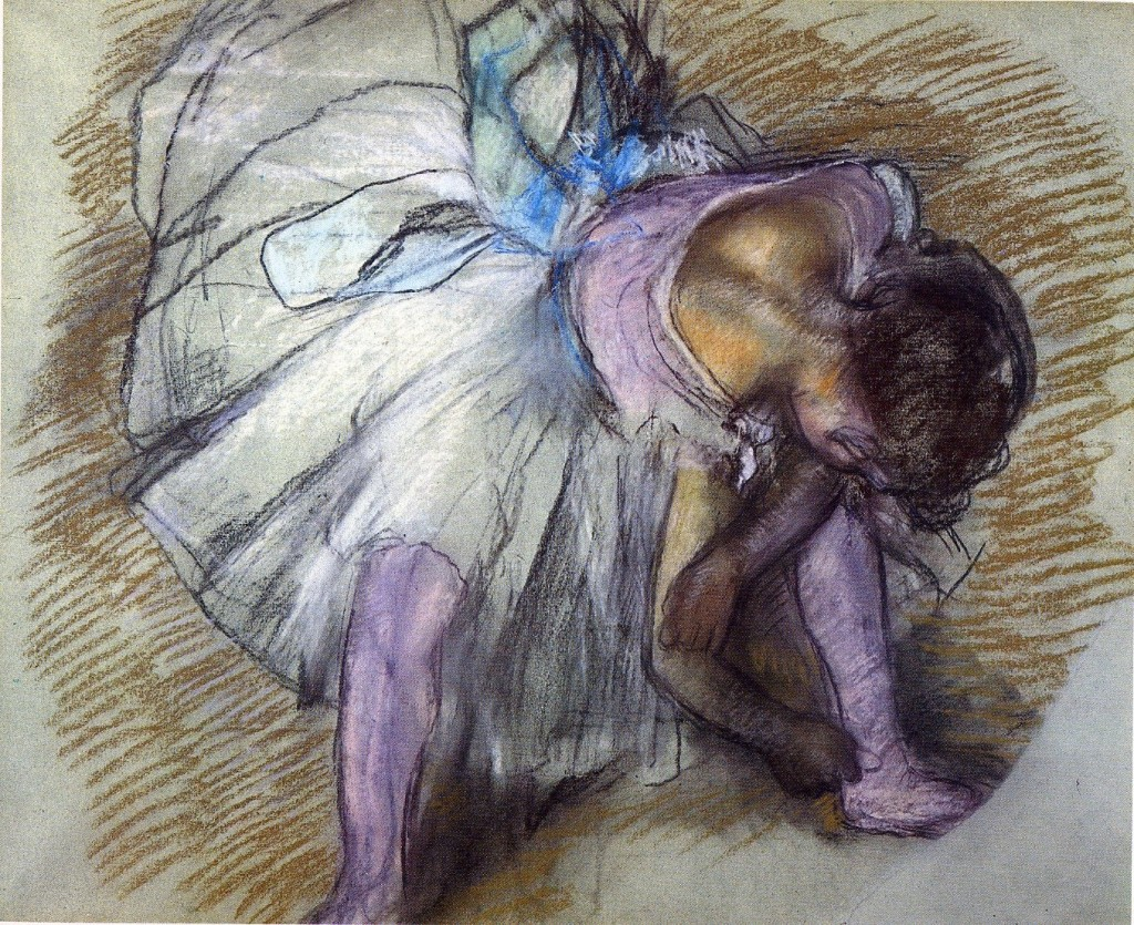6-30 Edgar Degas, Dancer Adjusting her Shoe, 1885. Pastel on gray paper, 48.2 x 61 cm. Memphis, Dixon Gallery and Gardens.
