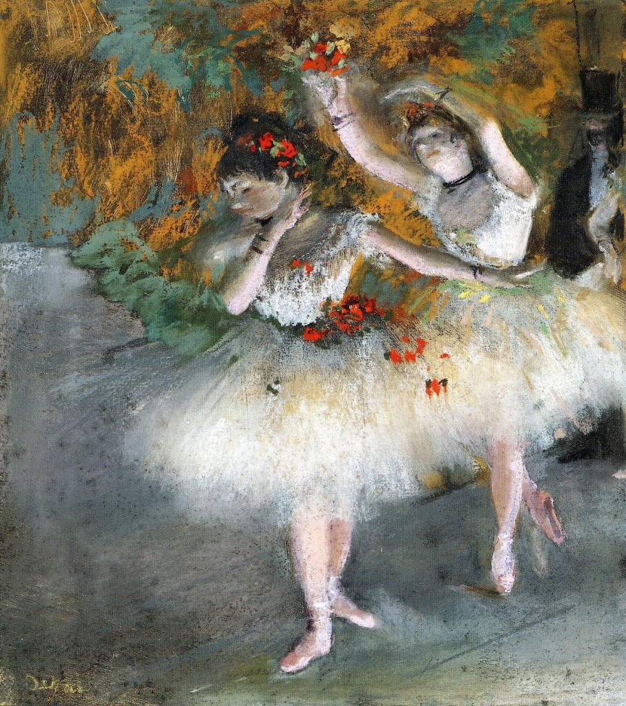 6-31 Edgar Degas, Two Dancers Entering the Stage, ca. 1877-78. Pastel and pastel distemper over monotype in black ink on heavy white laid paper, 36.5 x 35.9 cm. Cambridge, Fogg Art Museum.