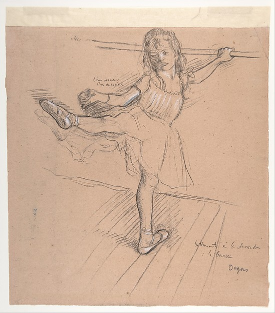 6-28 Edgar Degas, Little Girl Practicing at the Barre, ca. 1878-1880. Black chalk heightened with white [chalk?] on faded pink paper, 31 x 29.3 cm. New York, The Metropolitan Museum of Art.