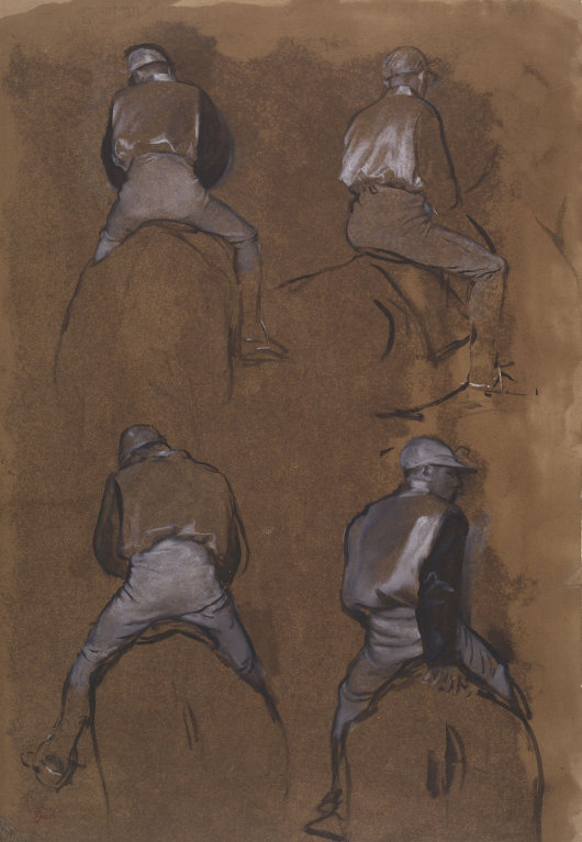 6-27  Edgar Degas, Four Studies of a Jockey, 1866. Essence, ink, and gouache, 45 x 35.5 cm. Chicago, Art Institute.