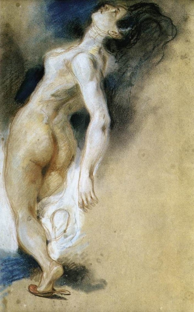 6-9 Eugène Delacroix, Study of a Nude Woman, Falling Backwards, for 'The Death of Sardanapalus', 1827. Pastel, red and white chalk, 40 x 27 cm. Paris, Musée du Louvre.
