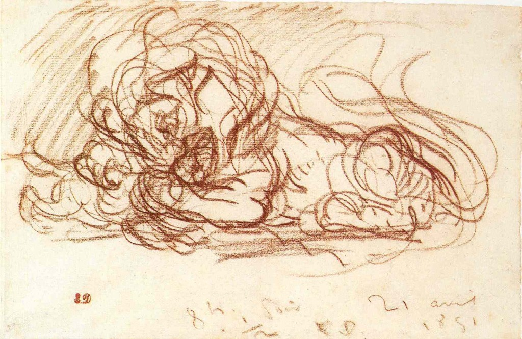 6-6 Eugène Delacroix, Crouching Lion, a Hare between his Paws, 1851. Red chalk, 19.8 x 30.6. Bremen, Kunsthalle.