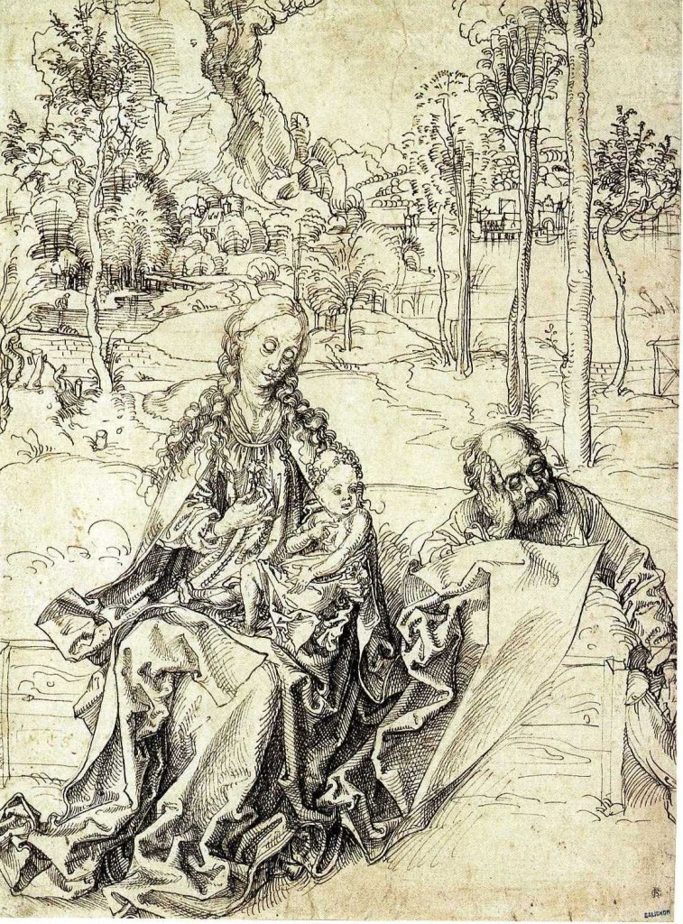 3-58 Albrecht Dürer, The Holy Family, 1492-93. Pen and black ink, 29.0 x 21.4 cm. Kupferstichkabinett, Berlin.