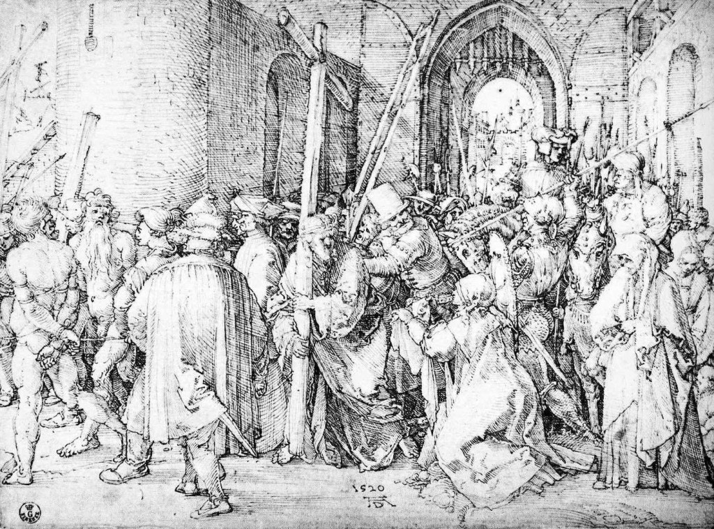 3-62 Albrecht Dürer, Christ Carrying the Cross, signed and dated 1520. Pen and black ink, 21.0 x 28.5 cm. Uffizi, Florence.