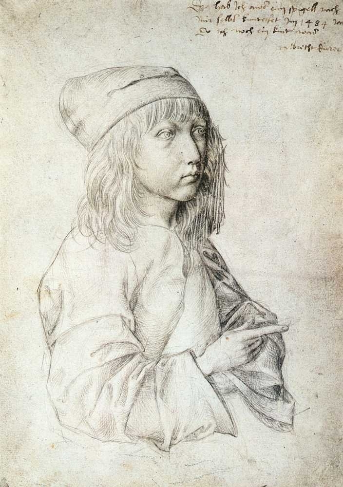 3-57 Albrecht Dürer, Self-Portrait, signed and dated 1484. Silverpoint, 27.5 x 19.6 cm. Albertina, Vienna.