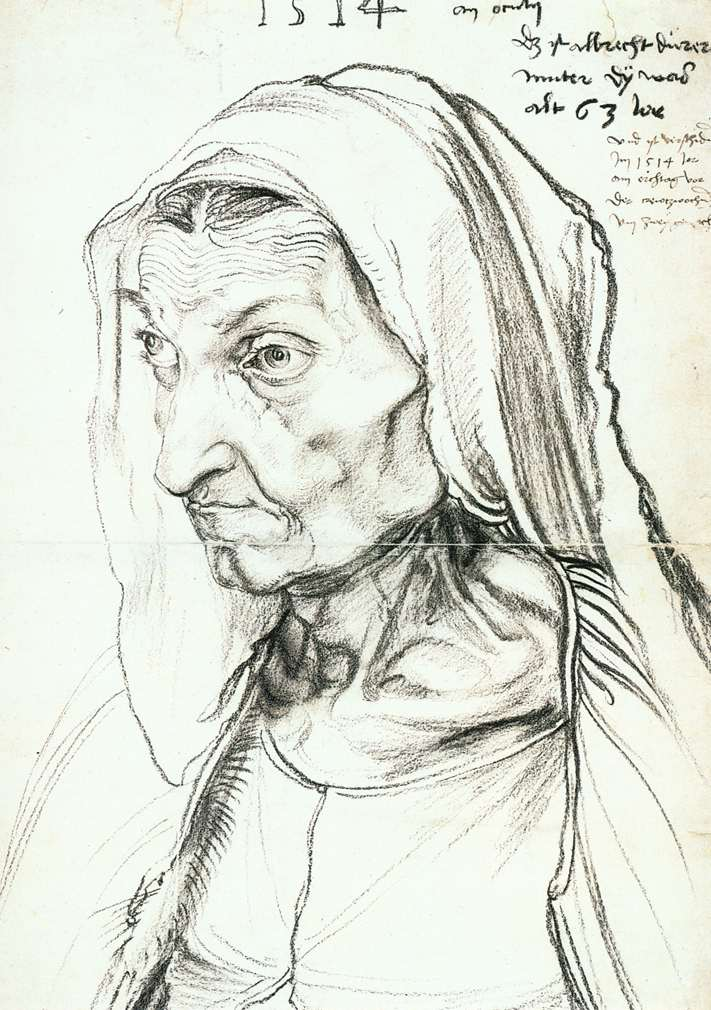 3-60 Albrecht Dürer, The Artist's Mother, dated 1514. Charcoal, 42.1 x 30.3 cm. Kupferstichkabinett, Berlin.